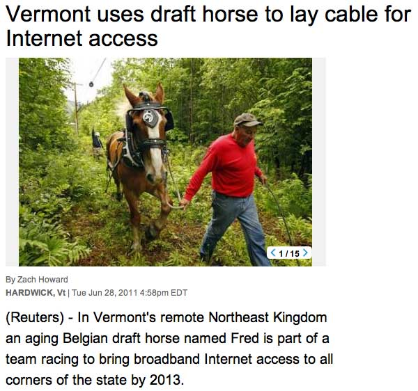 Draft Hourse Installs Fiber In Vermont