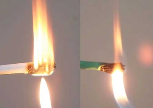 Counterfeit cable flame test