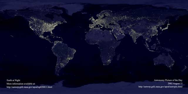 NASA earth from space at night